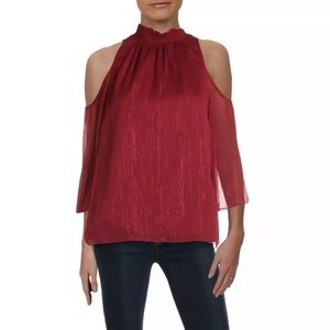 Rachel Zoe NWT Cold Shoulder Burgundy Blouse M
